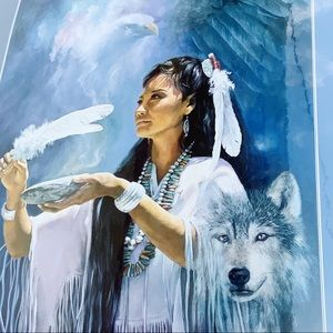 Detha Watson Native American print wolf eagle